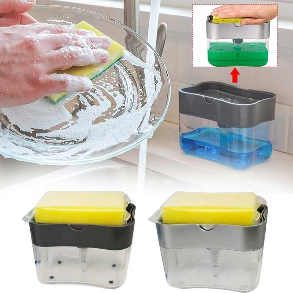 Dishwashing liquid dispenser with a sponge Black متجر 15 وأقل