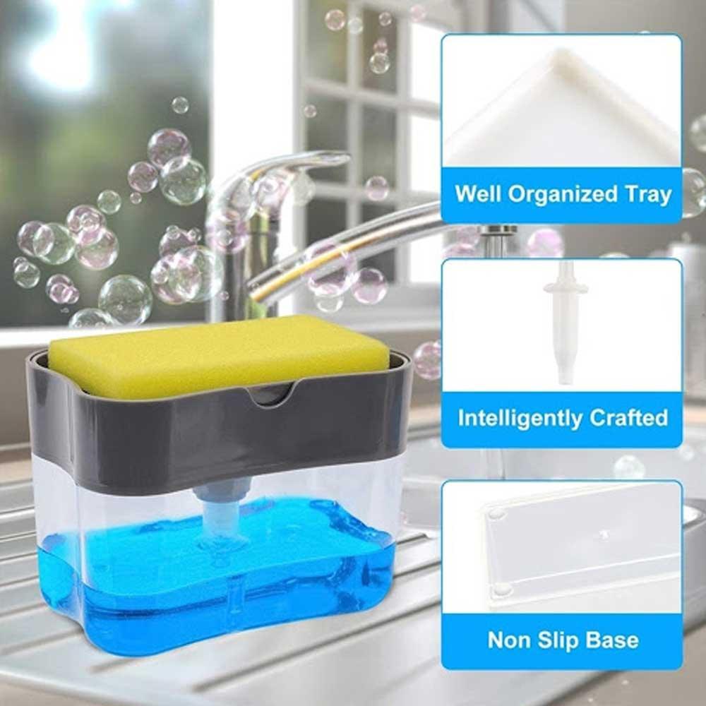 منظم سائل غسيل الصحون مع اسفنجة رمادي غامق متجر 15 وأقل