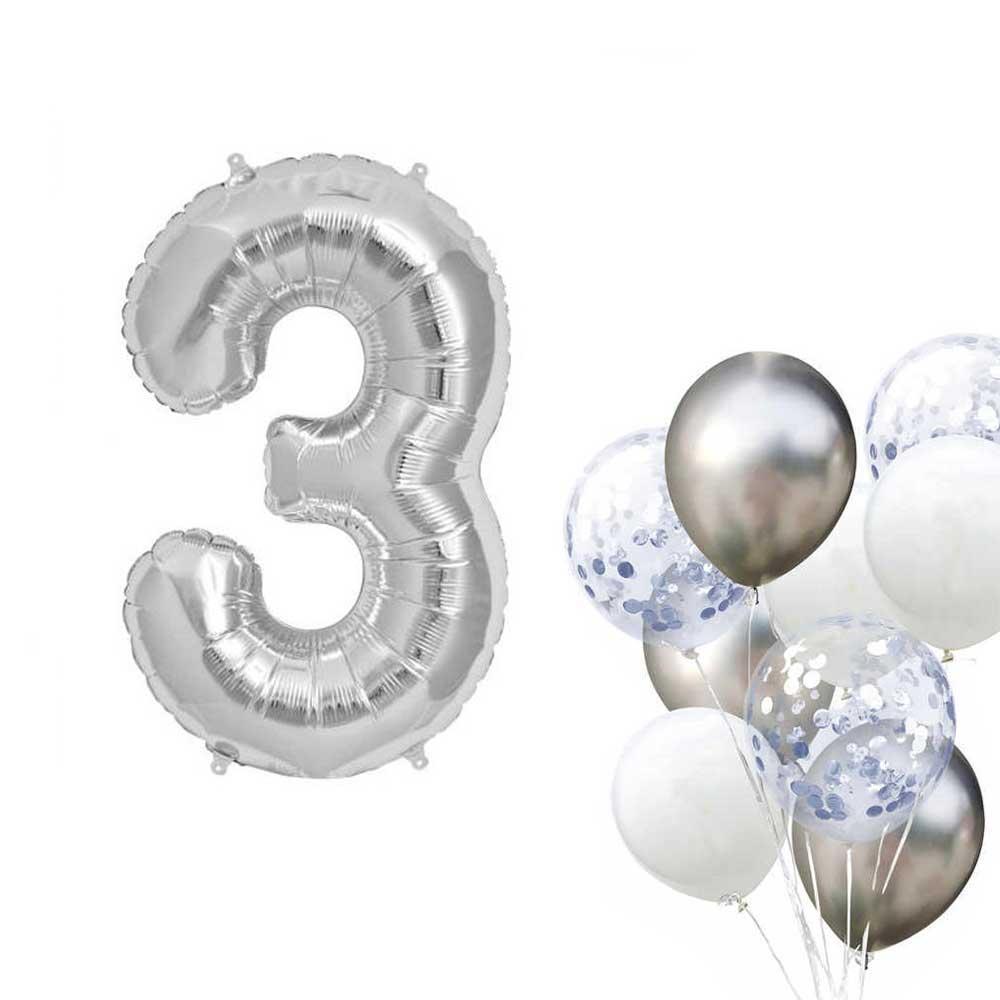 بالون هيليوم فضي رقم 3 متجر 15 وأقل