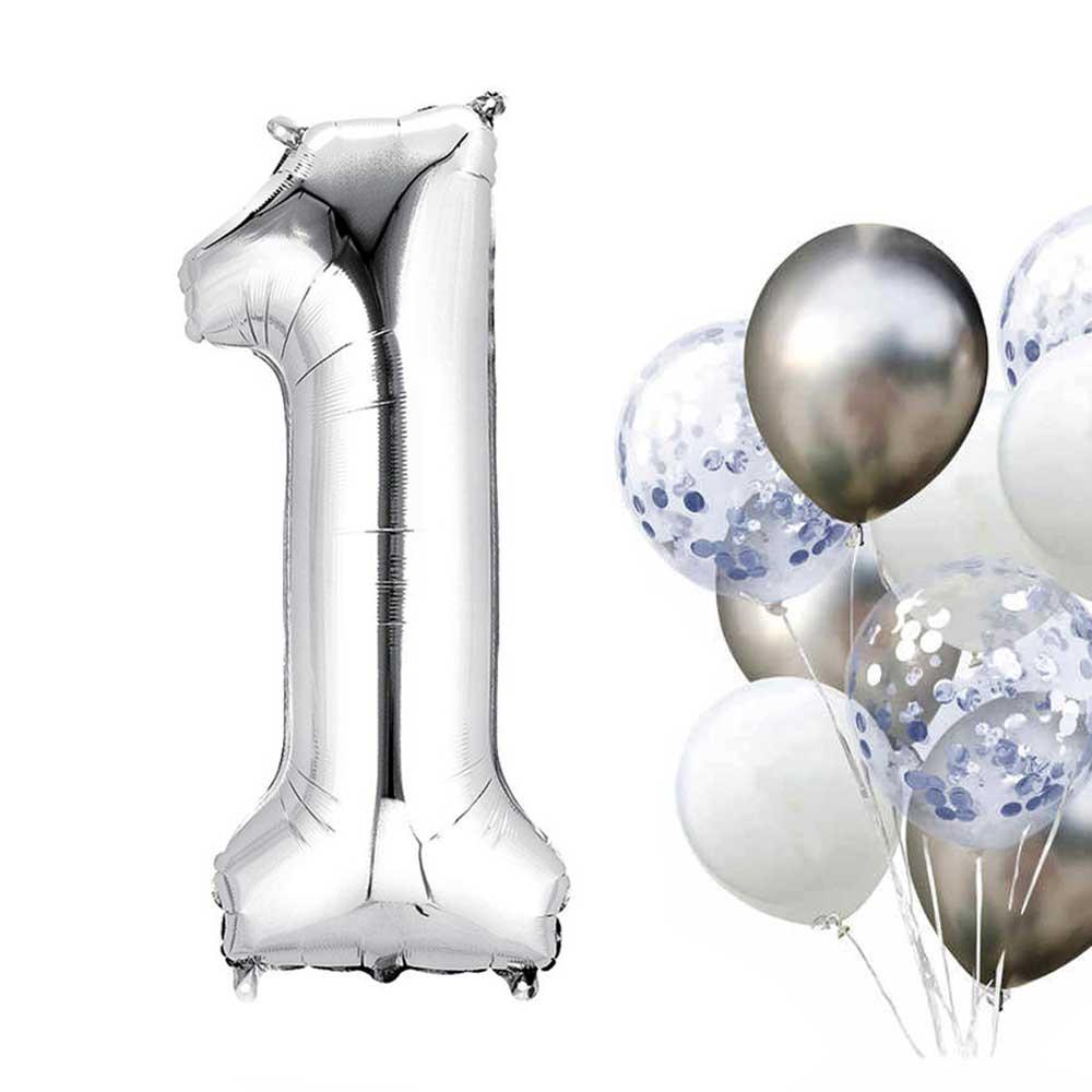 بالون هيليوم فضي رقم 1 متجر 15 وأقل