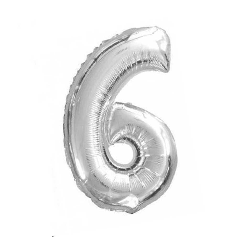 بالون هيليوم فضي رقم 6 متجر 15 وأقل