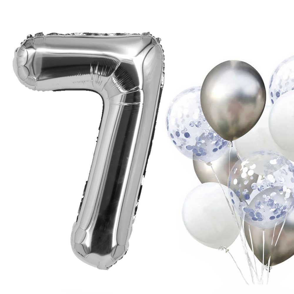 Silver Helium Balloon Number 7 متجر 15 وأقل