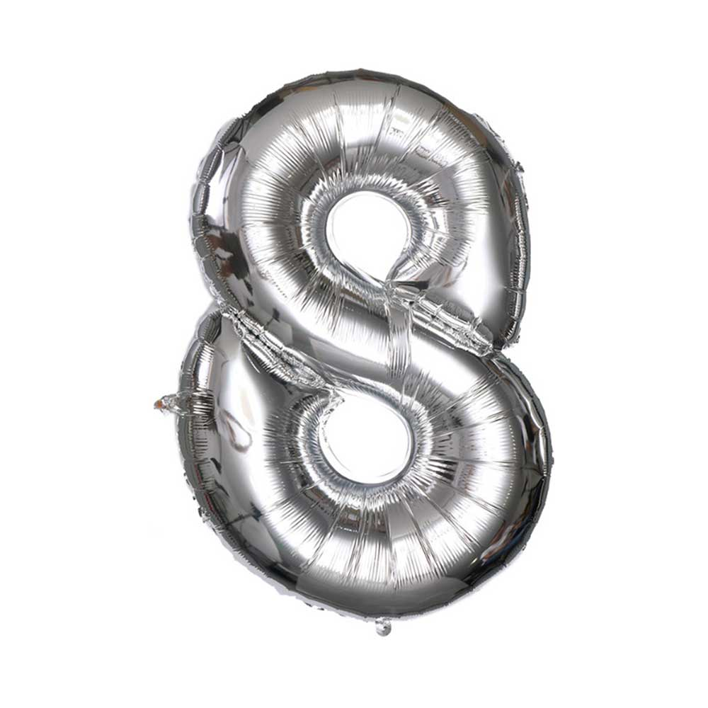 Silver Helium Balloon Number 8 متجر 15 وأقل