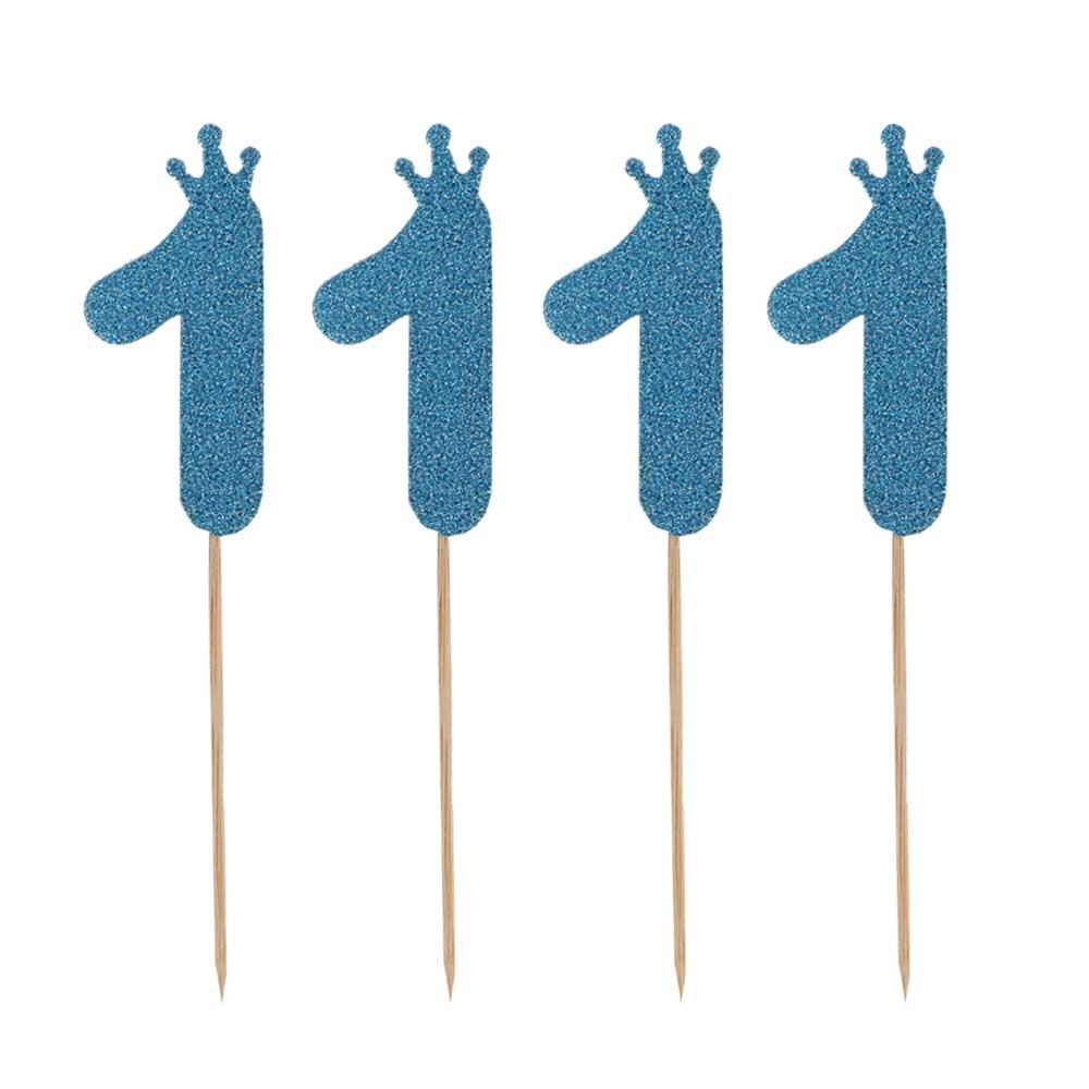 أعواد كيك أرقام لامعة أزرق رقم 1 متجر 15 وأقل