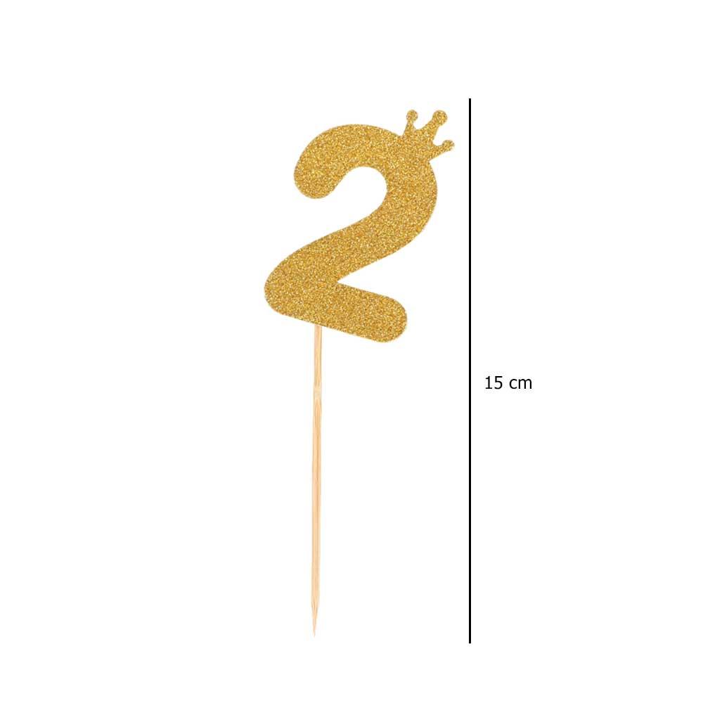 Cake sticks glitter golden number 2 متجر 15 وأقل