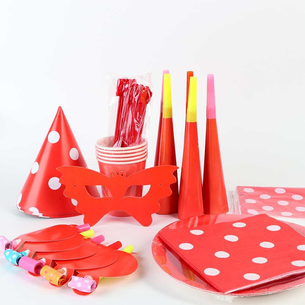 طقم أدوات الحفل للأطفال 9 قطع أحمر متجر 15 وأقل