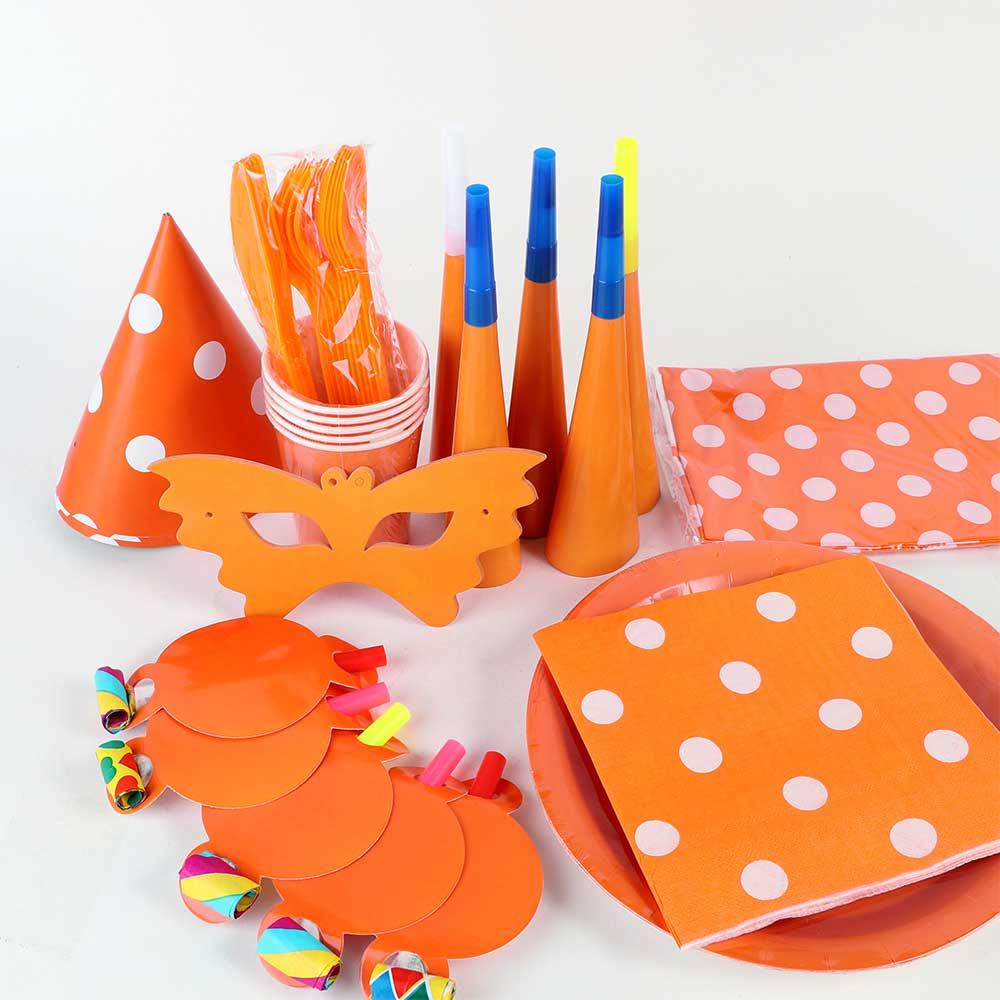 طقم أدوات الحفل للأطفال 9 قطع برتقالي متجر 15 وأقل
