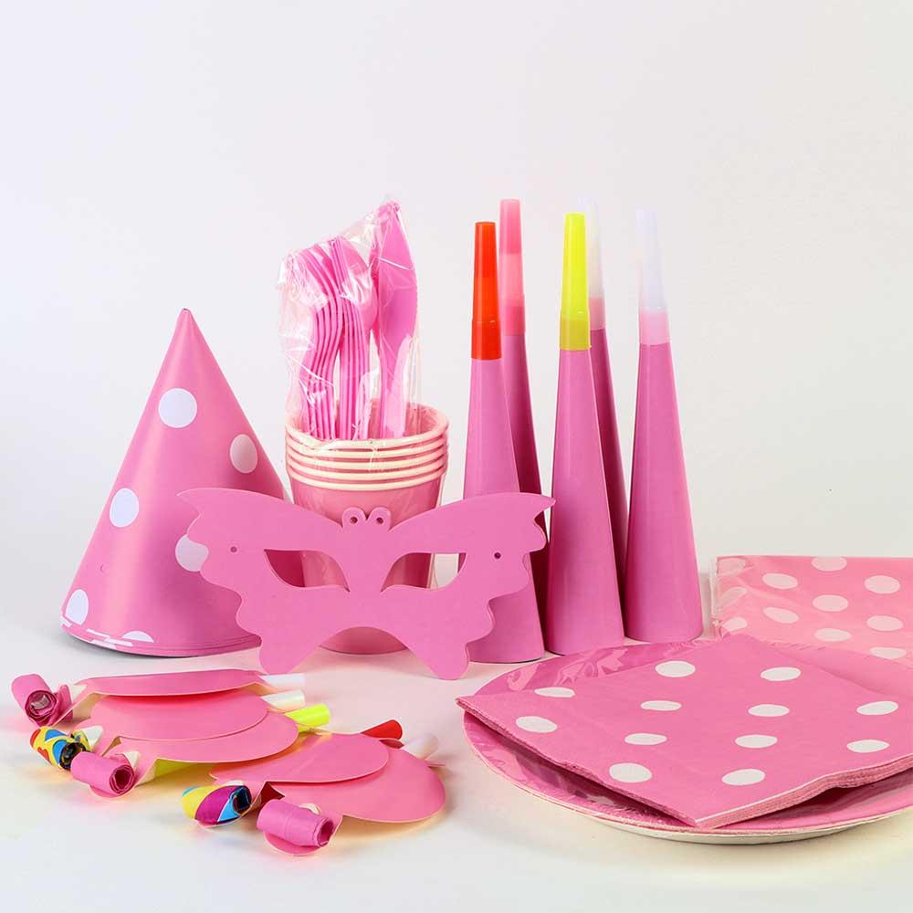 طقم أدوات الحفل للأطفال 9 قطع وردي متجر 15 وأقل