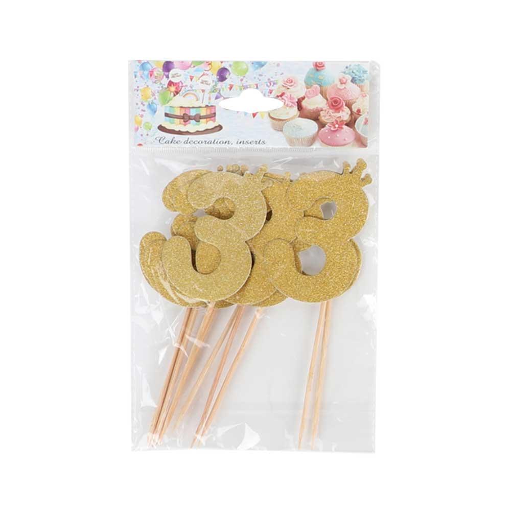 Cake sticks glitter golden number 3 متجر 15 وأقل
