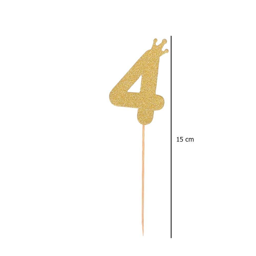Cake sticks glitter golden number 4 متجر 15 وأقل