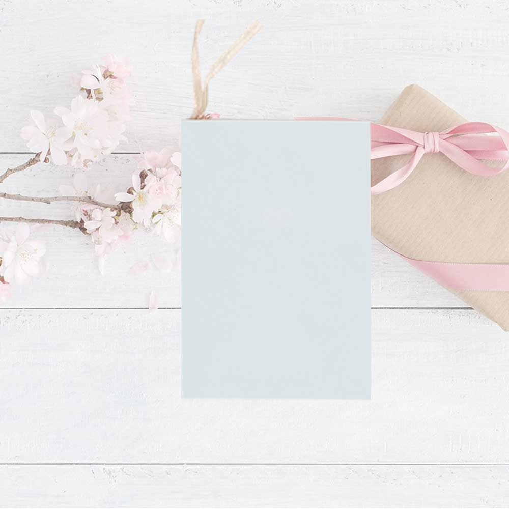 Colorful gift card with heart print Light blue متجر 15 وأقل