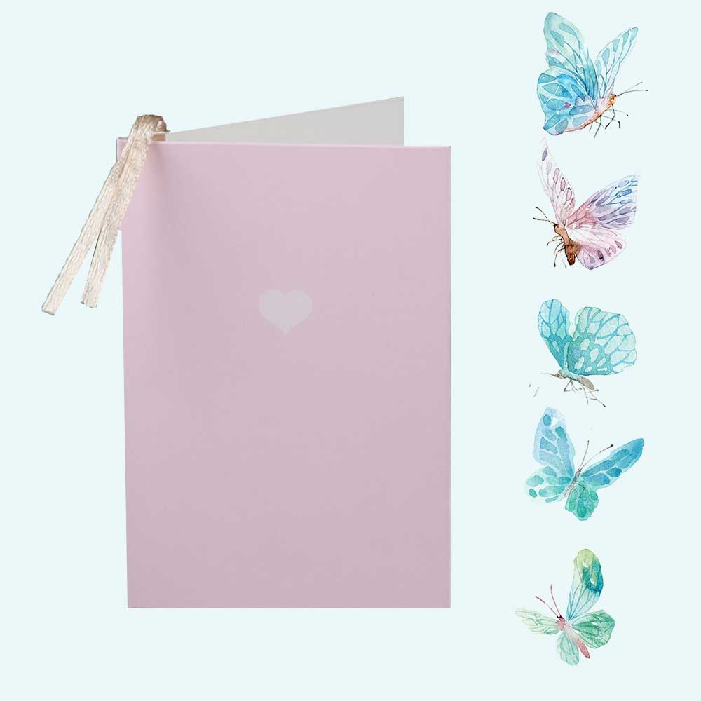 Colorful gift card with heart print Pink متجر 15 وأقل