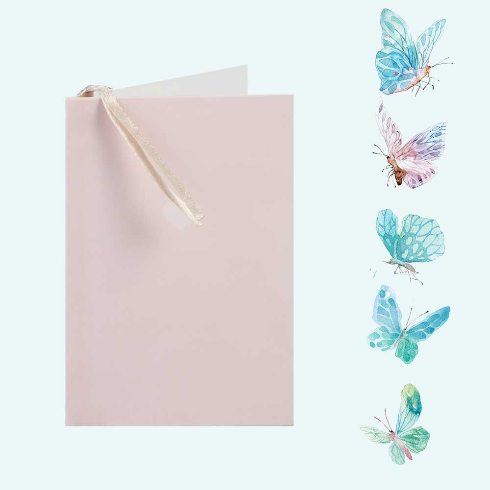 Colorful gift card with heart print Pastel pink متجر 15 وأقل