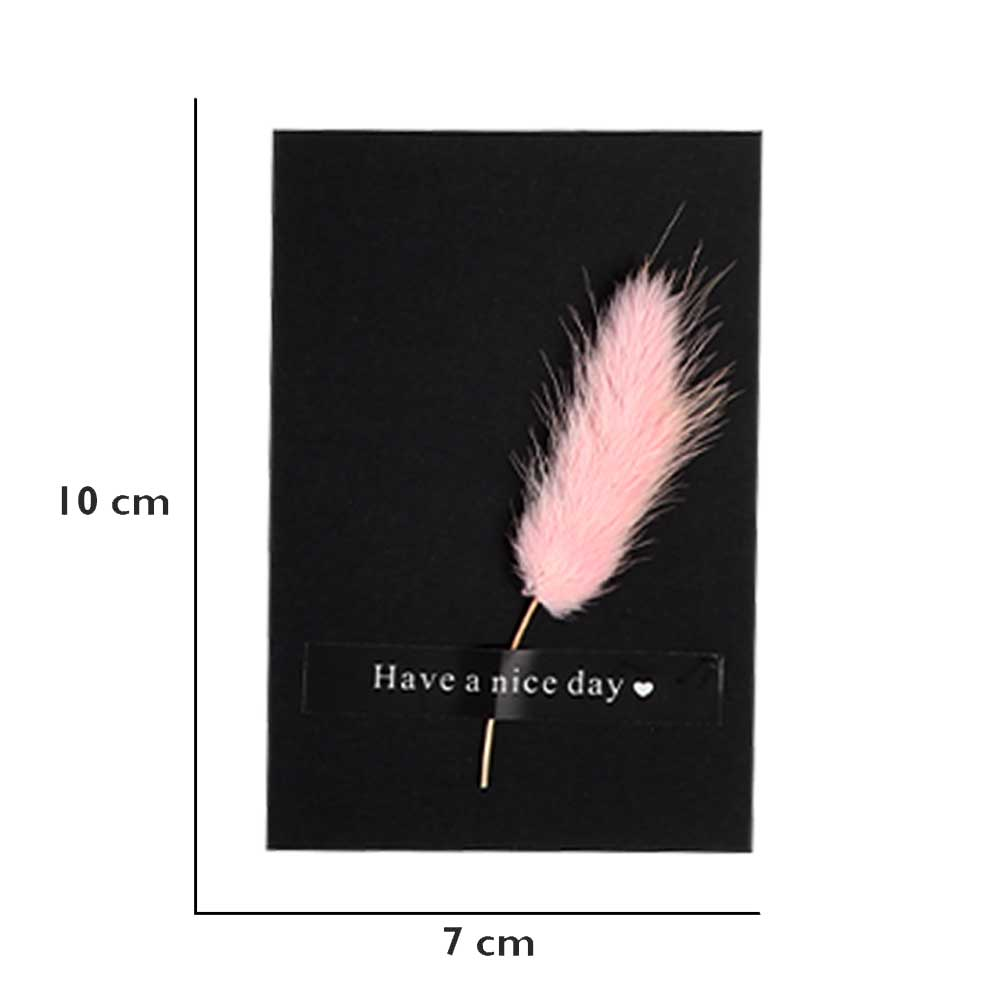 """Black gift card """"Have a nice day"""" with feather متجر 15 وأقل"""