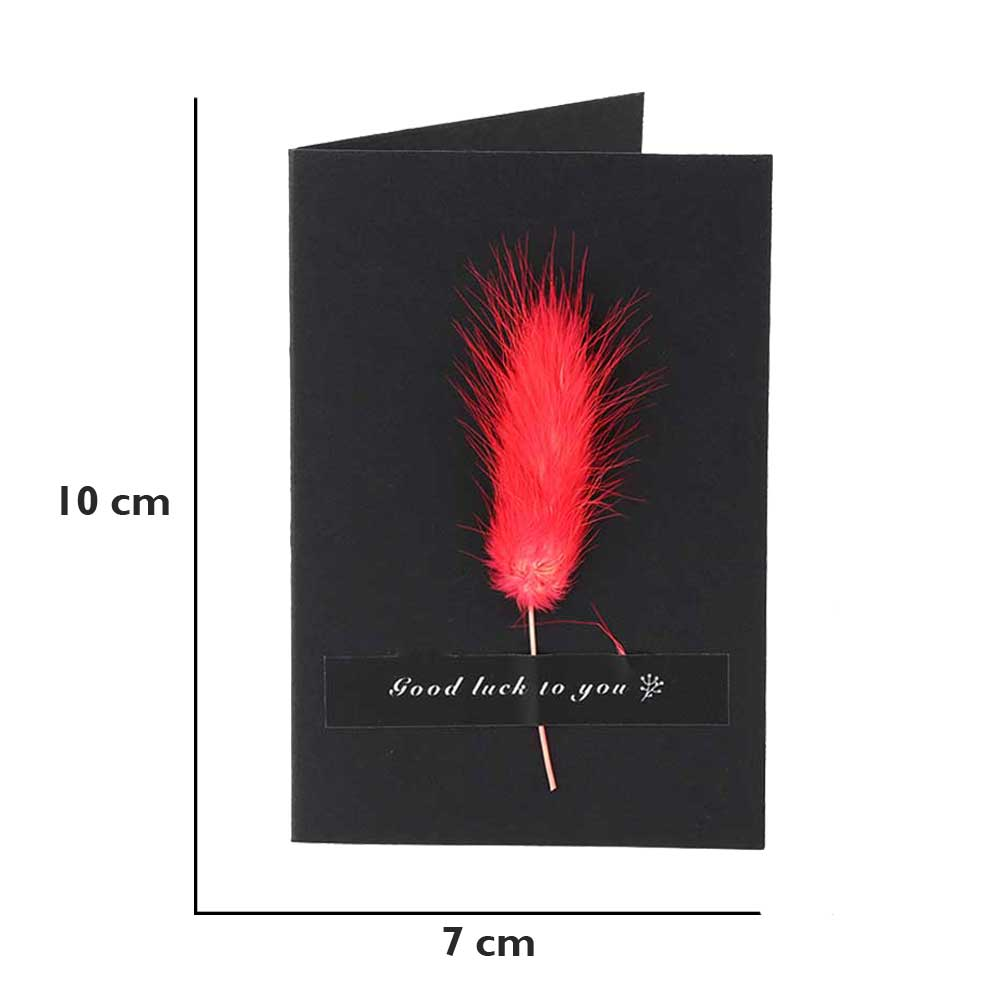 """Black Gift Card """"Good luck"""" with feather متجر 15 وأقل"""