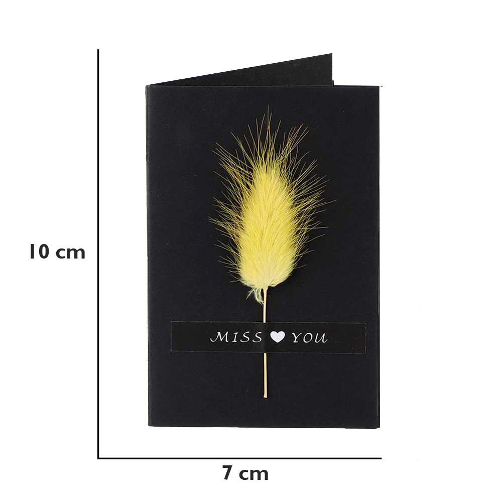 """Black gift card """"Miss you"""" with feather متجر 15 وأقل"""