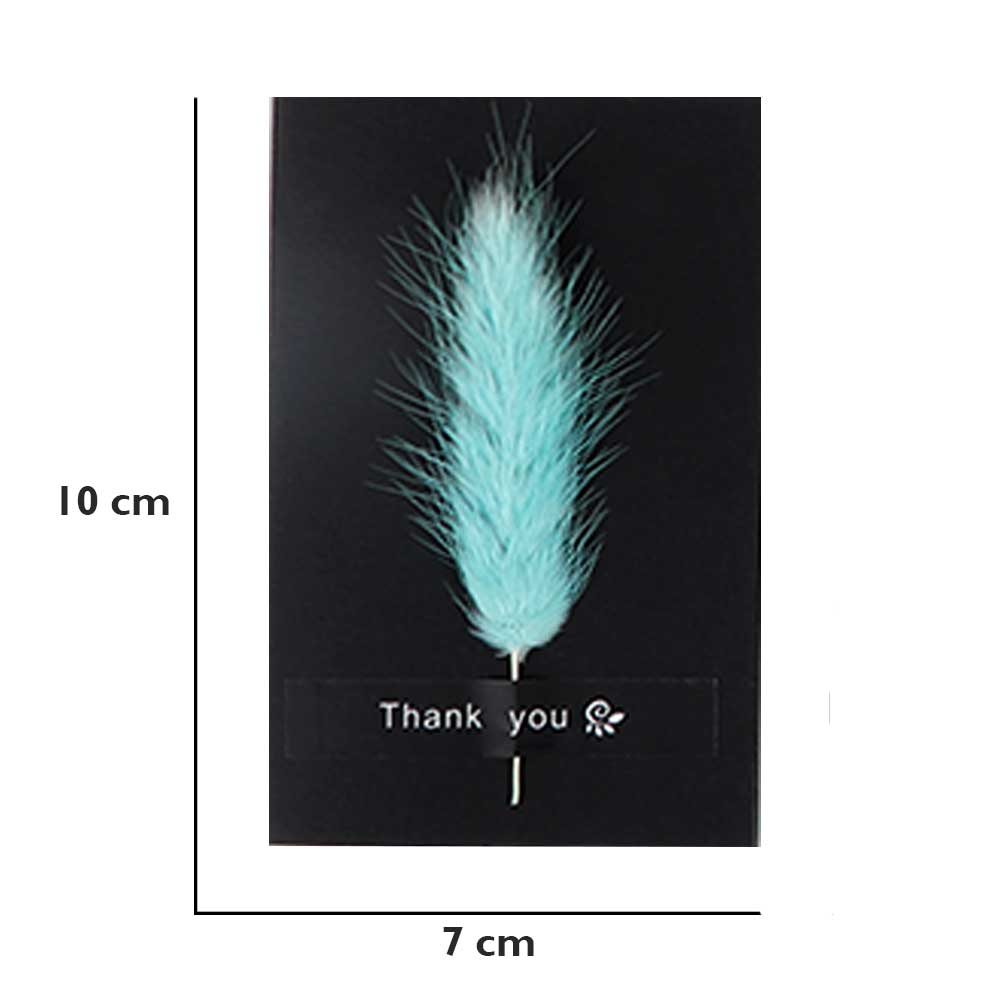 """Black gift card """"Thank you"""" with feather متجر 15 وأقل"""