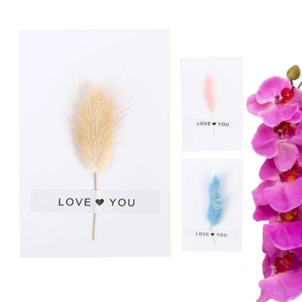 """White Gift Card """"Love you"""" with feather متجر 15 وأقل"""
