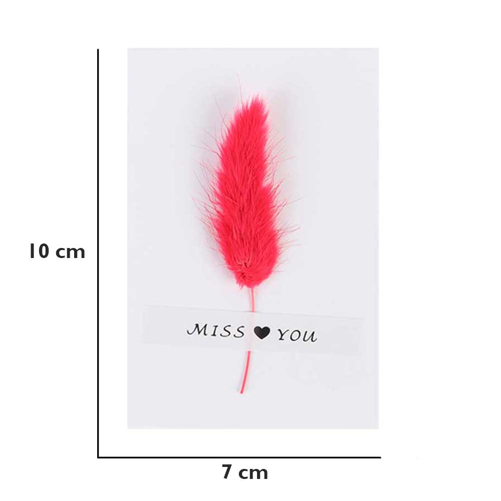 """White gift card """"Miss you"""" with feather متجر 15 وأقل"""