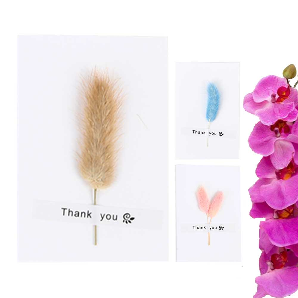 """White gift card """"Thank you"""" with feather متجر 15 وأقل"""