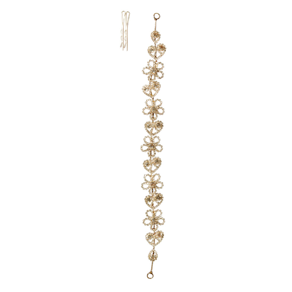 womens hair accessory gold colour with zircon lobes flowers and hearts متجر 15 وأقل