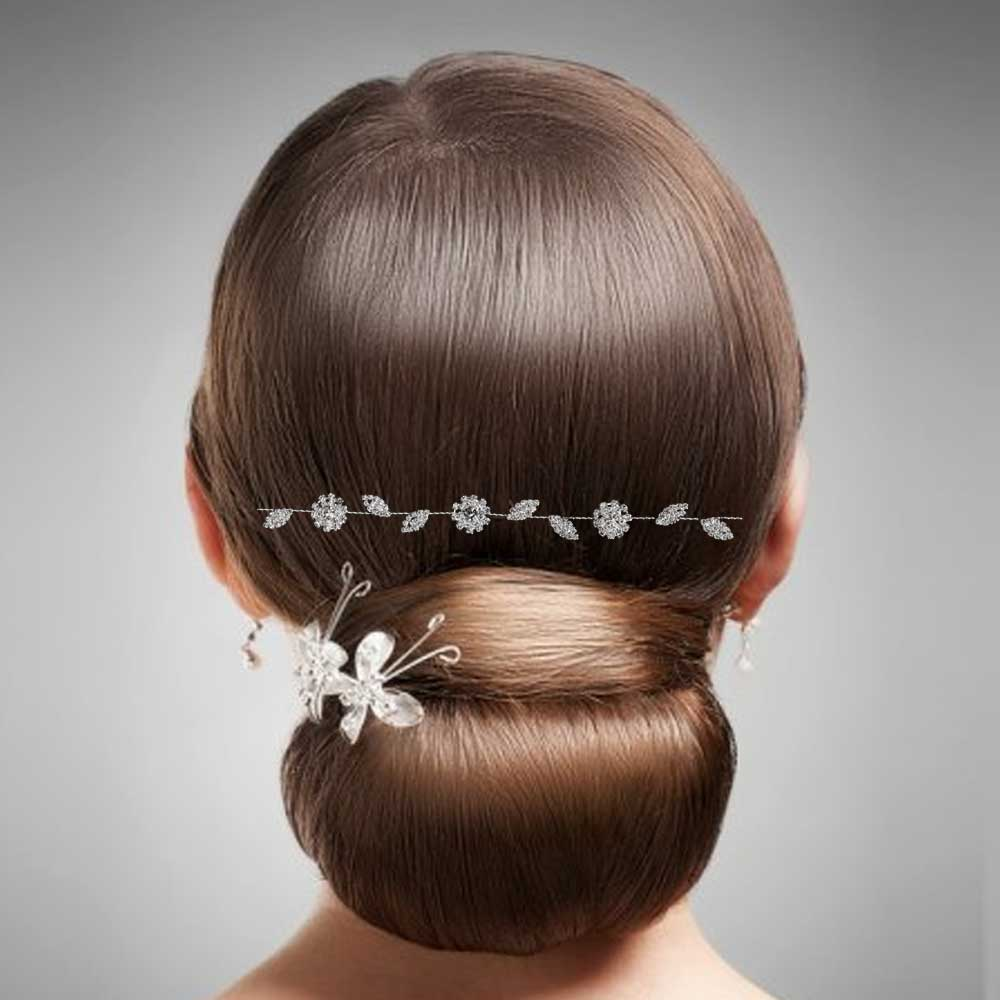 Womens silver hair accessory with zircon lobes flowers and leaves متجر 15 وأقل