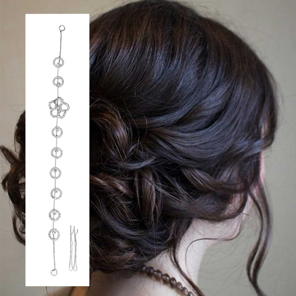 Womens silver hair accessory with zircon lobes circles متجر 15 وأقل