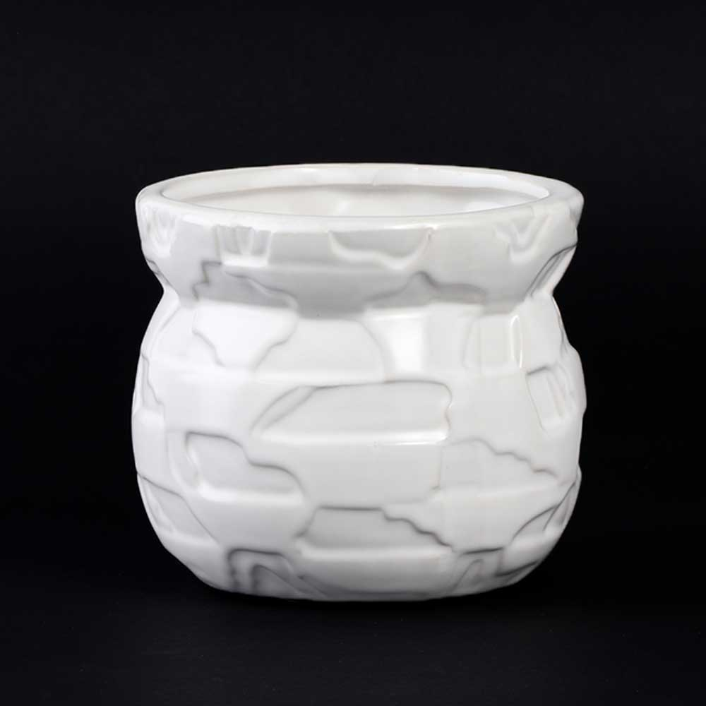 Circular Vase Ceramic Decorated as Bricks, White Color متجر 15 وأقل