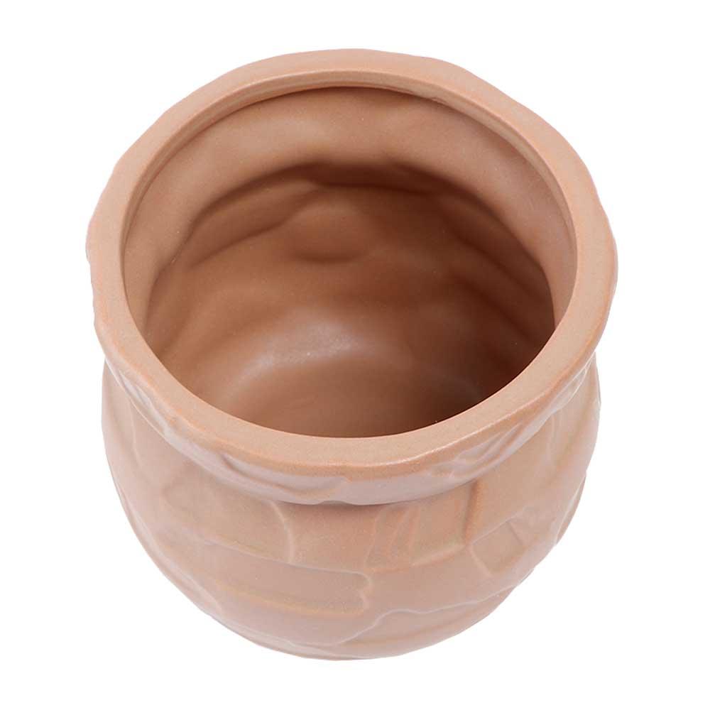 Circular Vase Ceramic Decorated as Bricks, Brown Color متجر 15 وأقل