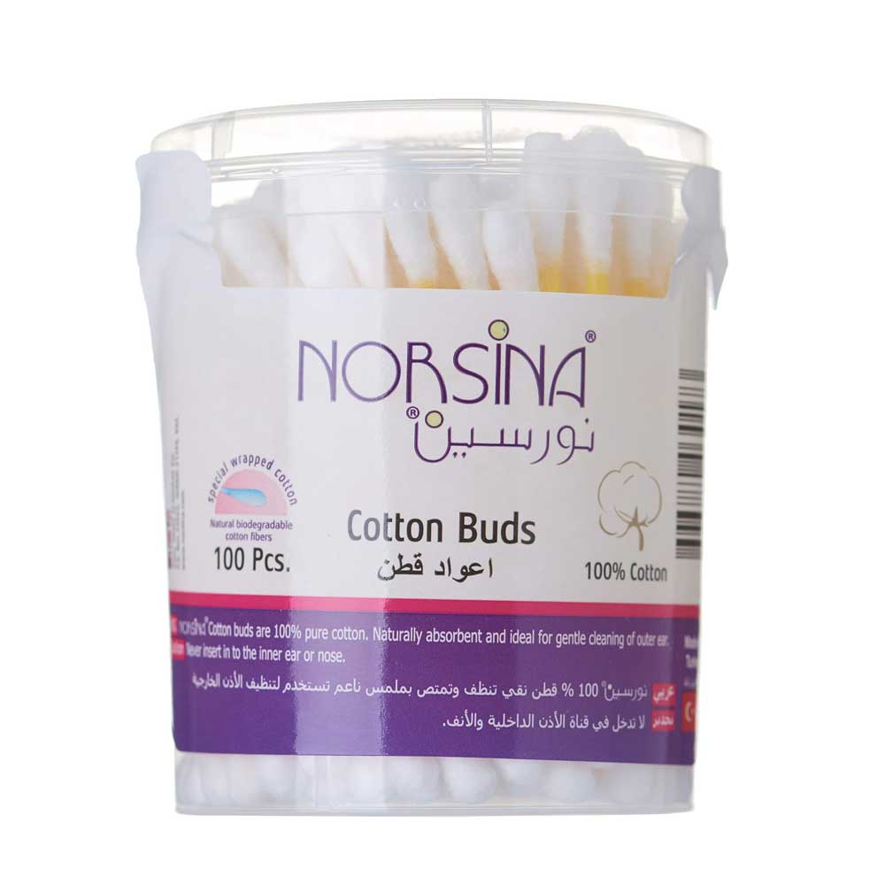 Norsina Cotton Buds To Clean Outer Ear 100 Pcs. متجر 15 وأقل