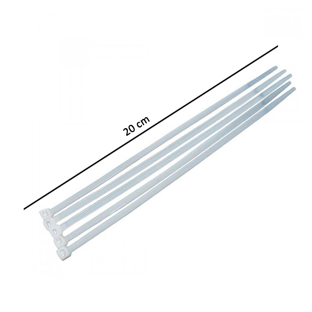 رباط كيبل بلاستيك 20 سم لون أبيض 10 قطع متجر 15 وأقل