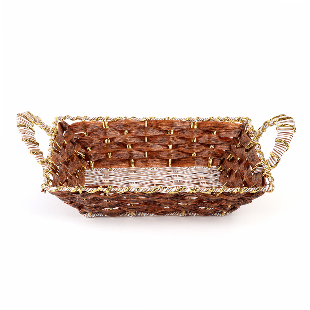 Rectangular Basket Decorated with Golden Stripes with Handle 27cm Wide متجر 15 وأقل