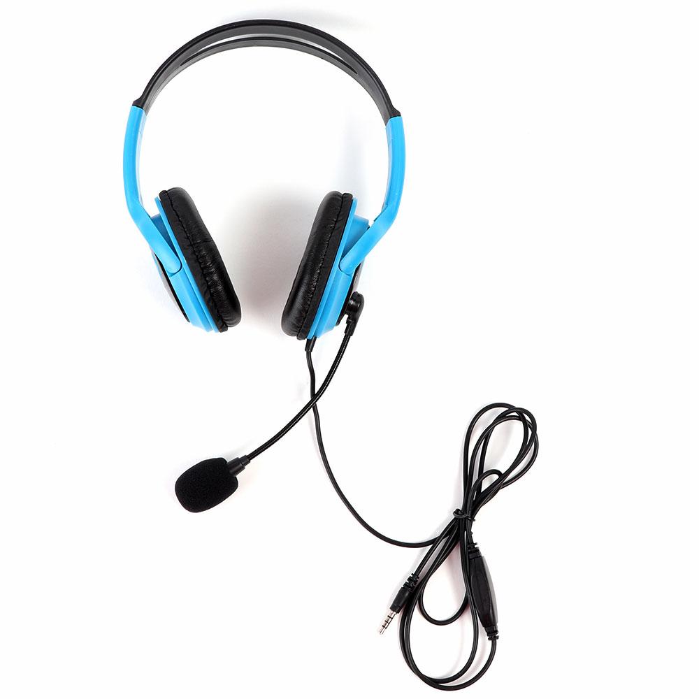 سماعة رأس مع ميكروفون لون ازرق متجر 15 وأقل