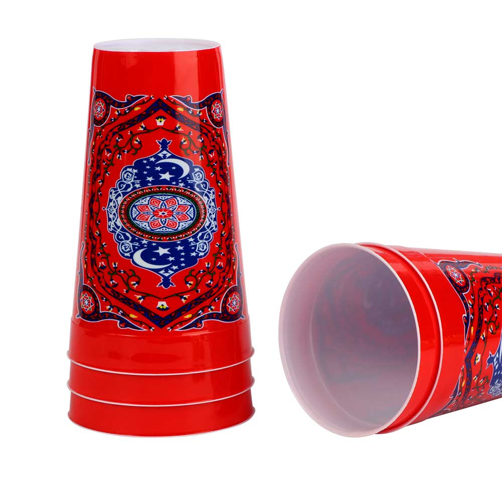 Ramadan Printed Plastic Cups - Size 12.5×7.5 cm - with a Red Background متجر 15 وأقل