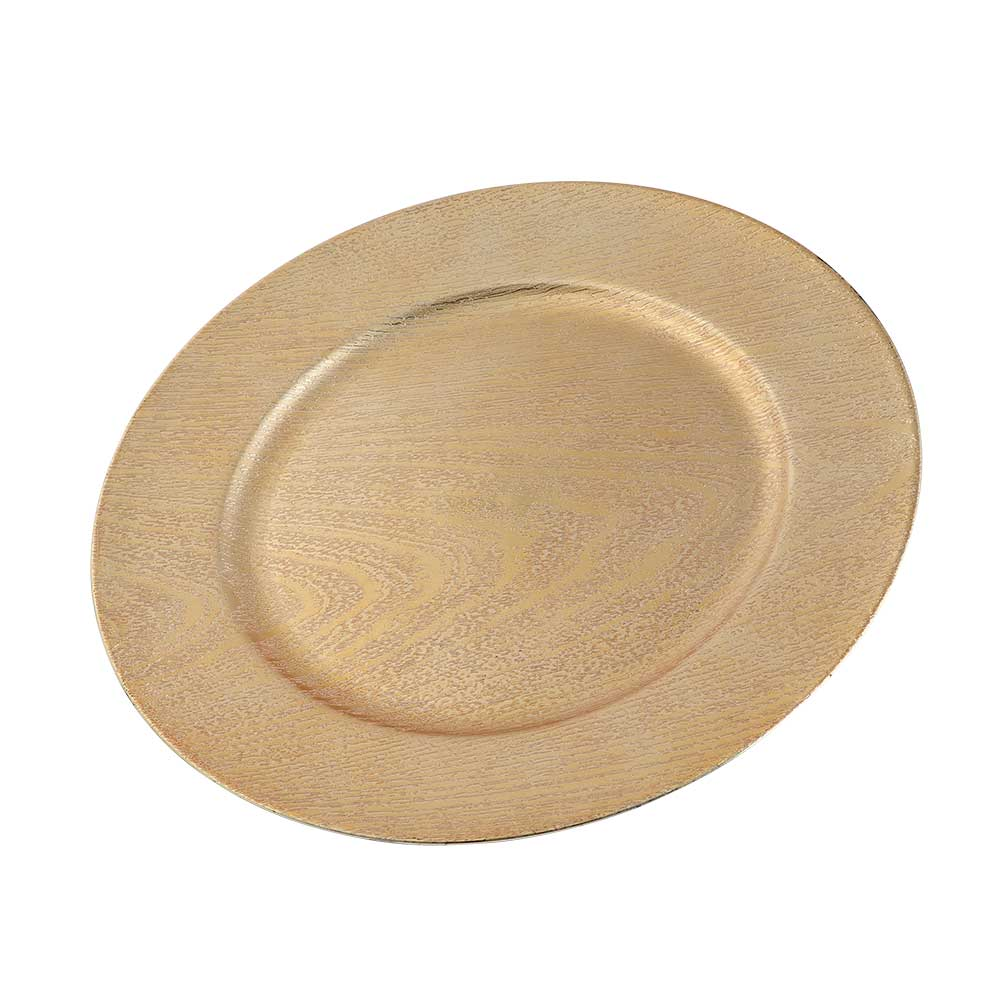 صحن تقديم دائري بنقشة خشبية لون ذهبي 33 سم متجر 15 وأقل