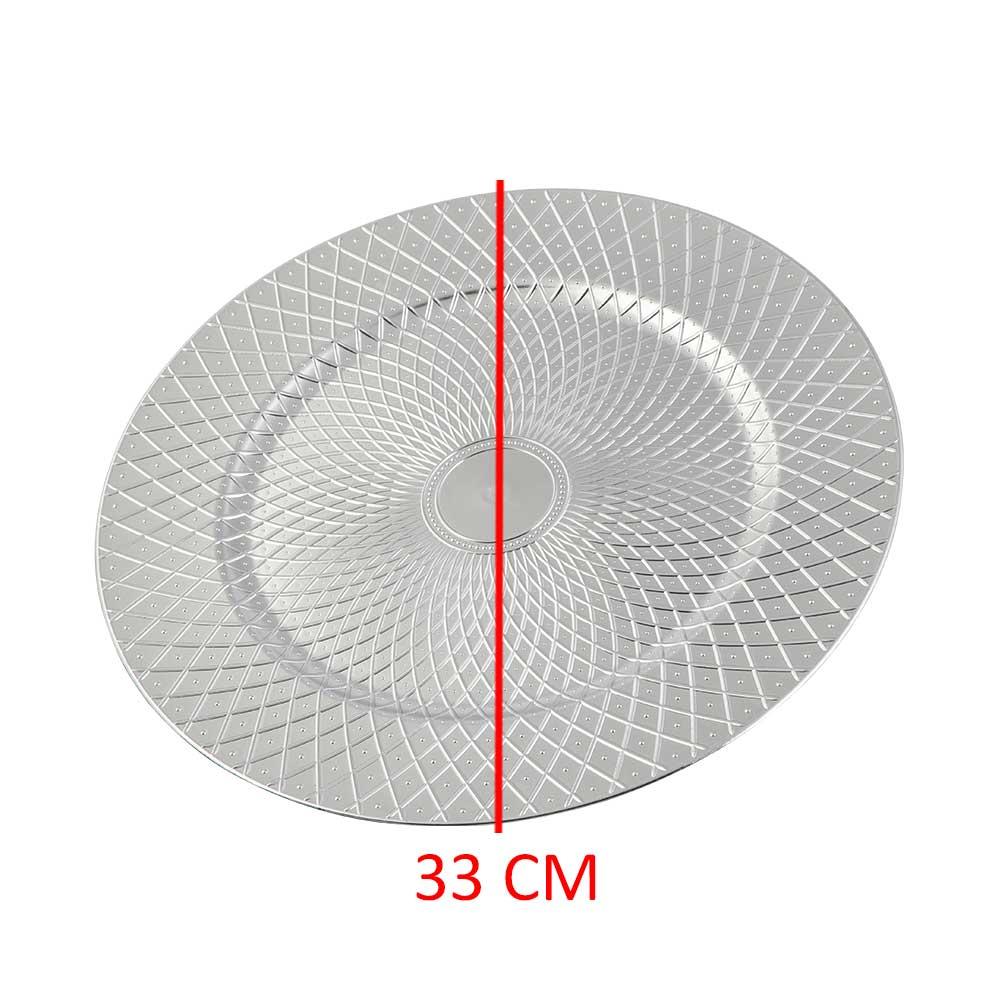 صحن تقديم دائري مزخرف لون فضي 33 سم متجر 15 وأقل