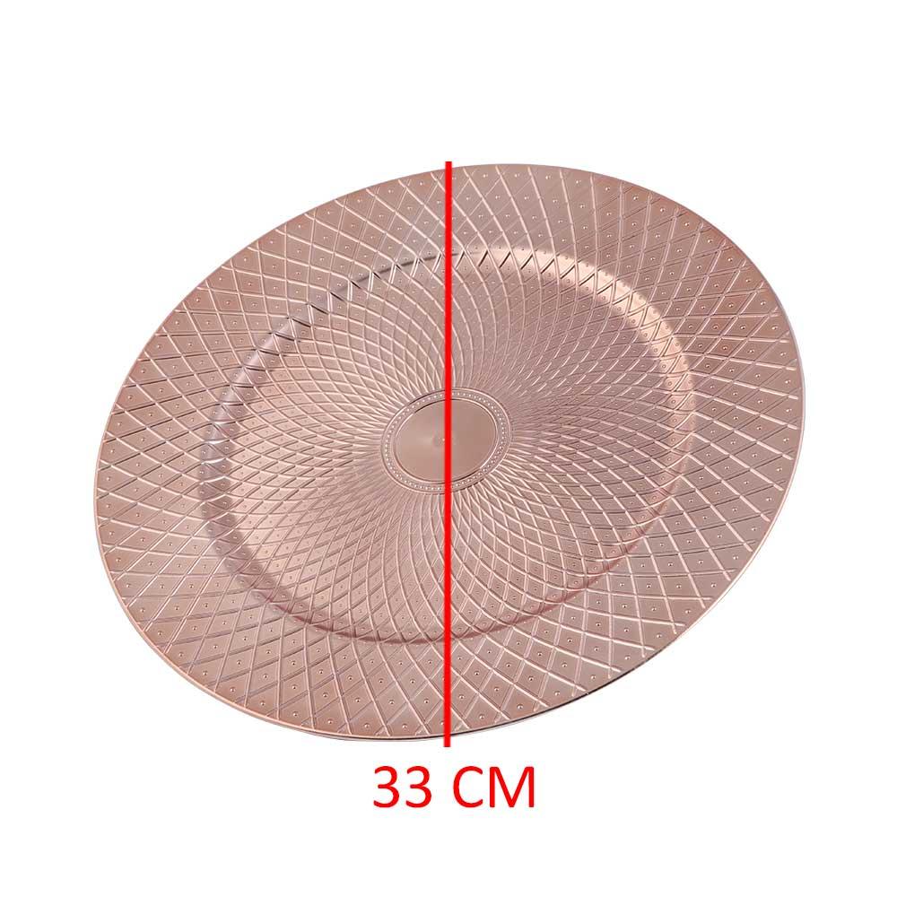 صحن تقديم دائري مزخرف لون برونزي 33 سم متجر 15 وأقل