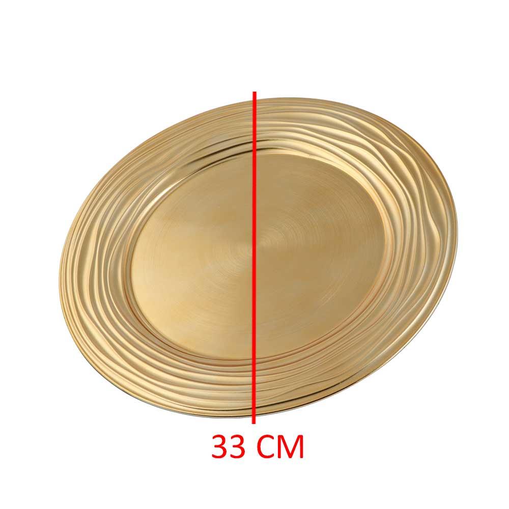 صحن تقديم دائري مموجة عند الأطراف لون ذهبي 33 سم متجر 15 وأقل