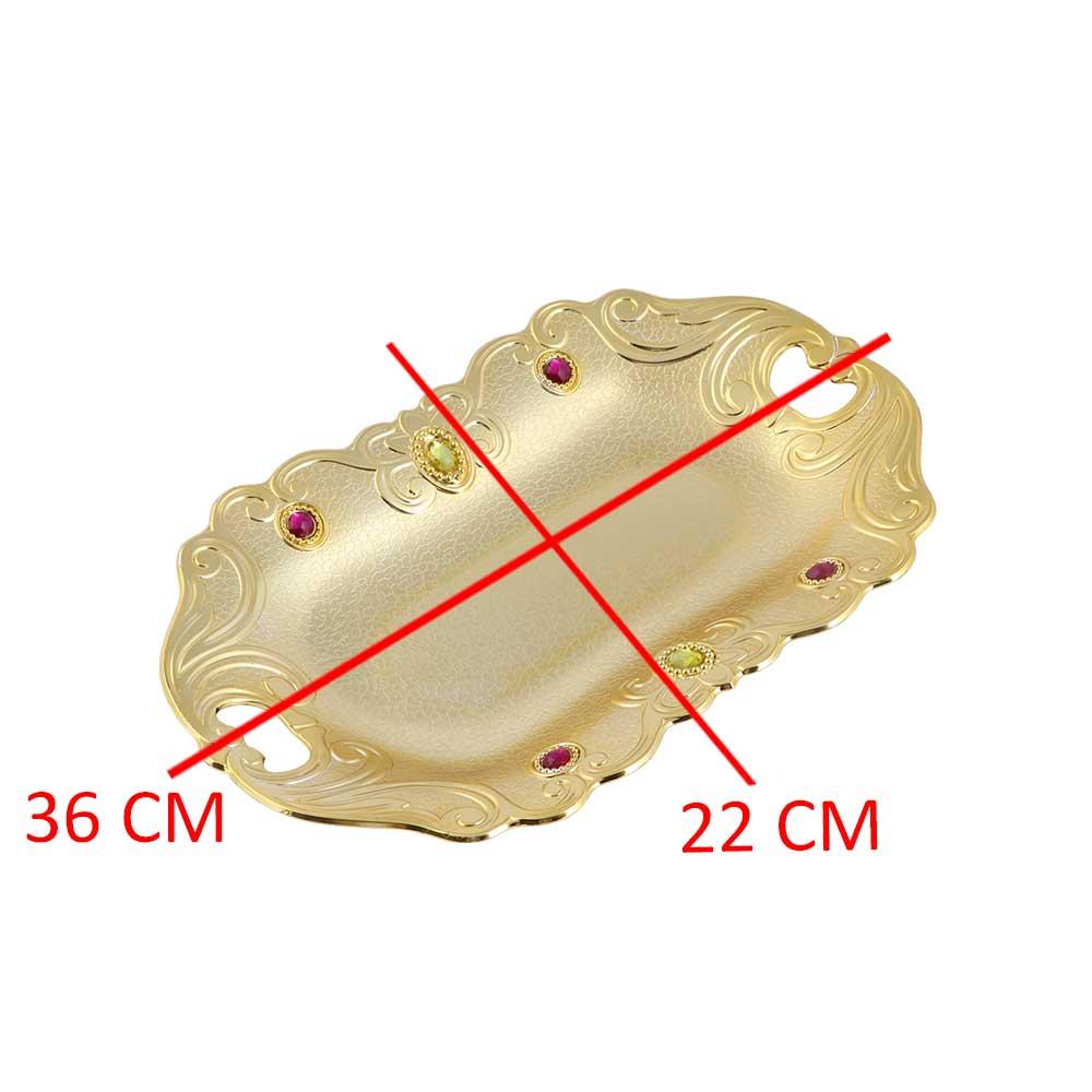 صحن تقديم مستطيل بفصوص ملونة لون ذهبي 36×22 سم متجر 15 وأقل