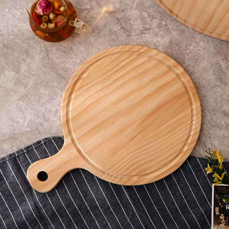 طبق خشبي لتقديم الطعام والمقبلات دائري متوسط الحجم لون بيج متجر 15 وأقل