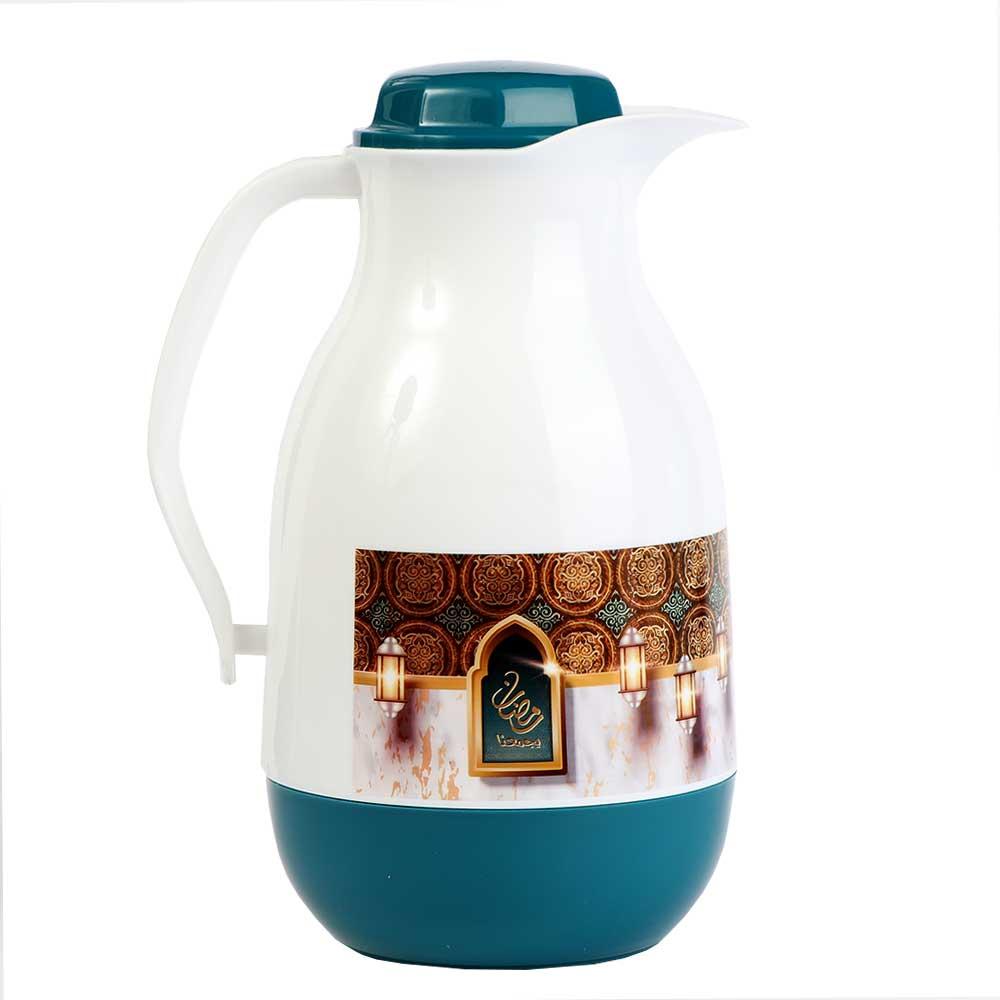 Ramadan Oval Tea and Coffee Dallah 1 liter - Green color متجر 15 وأقل