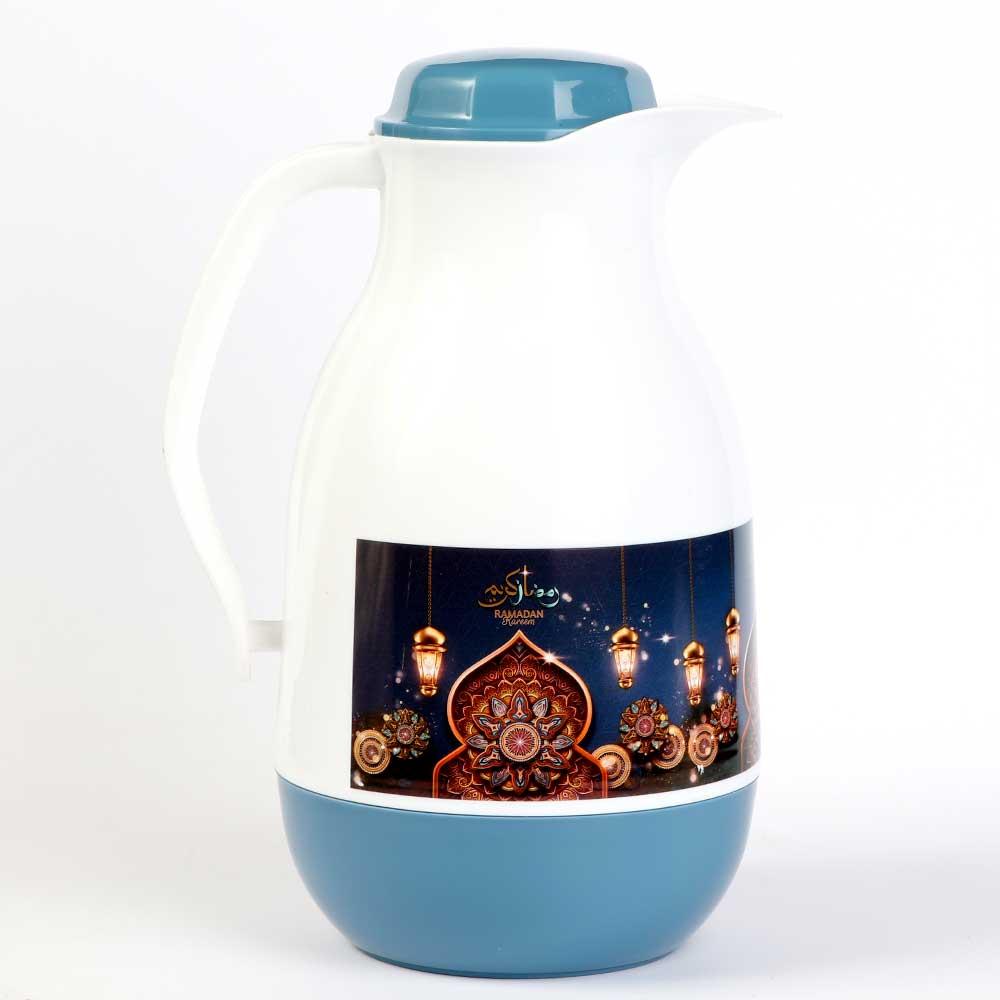 دلة شاي وقهوة رمضانية بيضاوية 1لتر - لون أزرق متجر 15 وأقل
