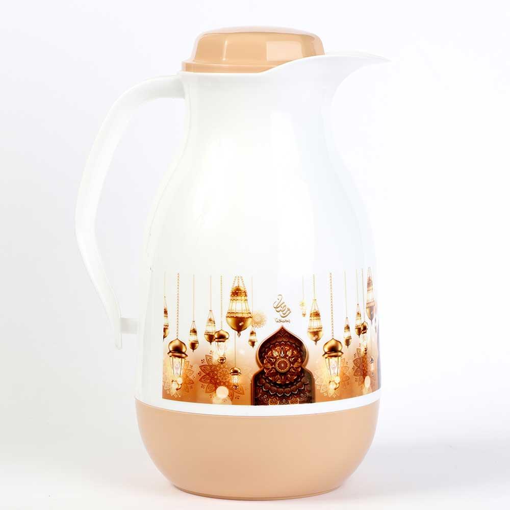 دلة شاي وقهوة رمضانية بيضاوية 1لتر - لون بيج متجر 15 وأقل