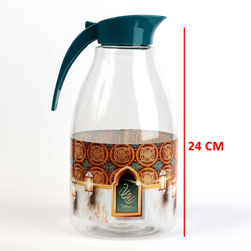 Transparent plastic jak with ramadan logo with a green cap 3 liter متجر 15 وأقل