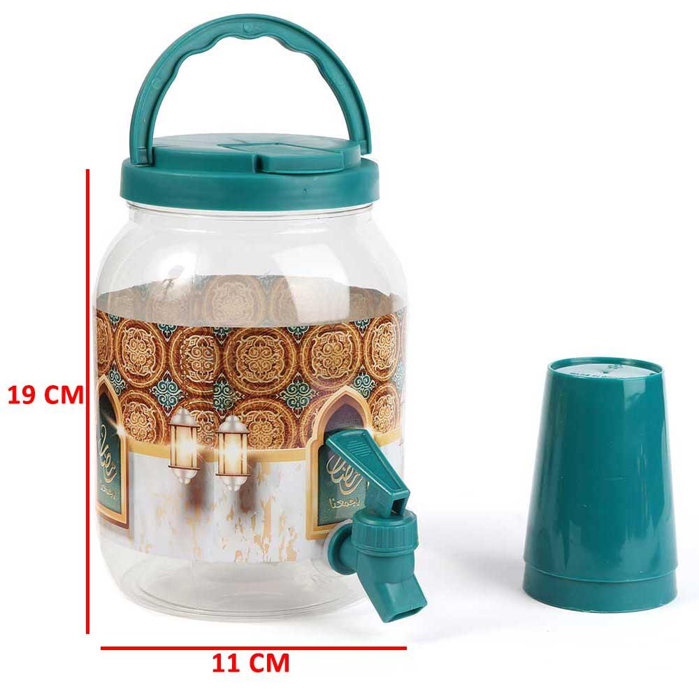 جك بلاستيك شفاف للعصائر بشعار رمضان مع غطاء لون أخضر وكاسات وبزبوز 2 لتر متجر 15 وأقل