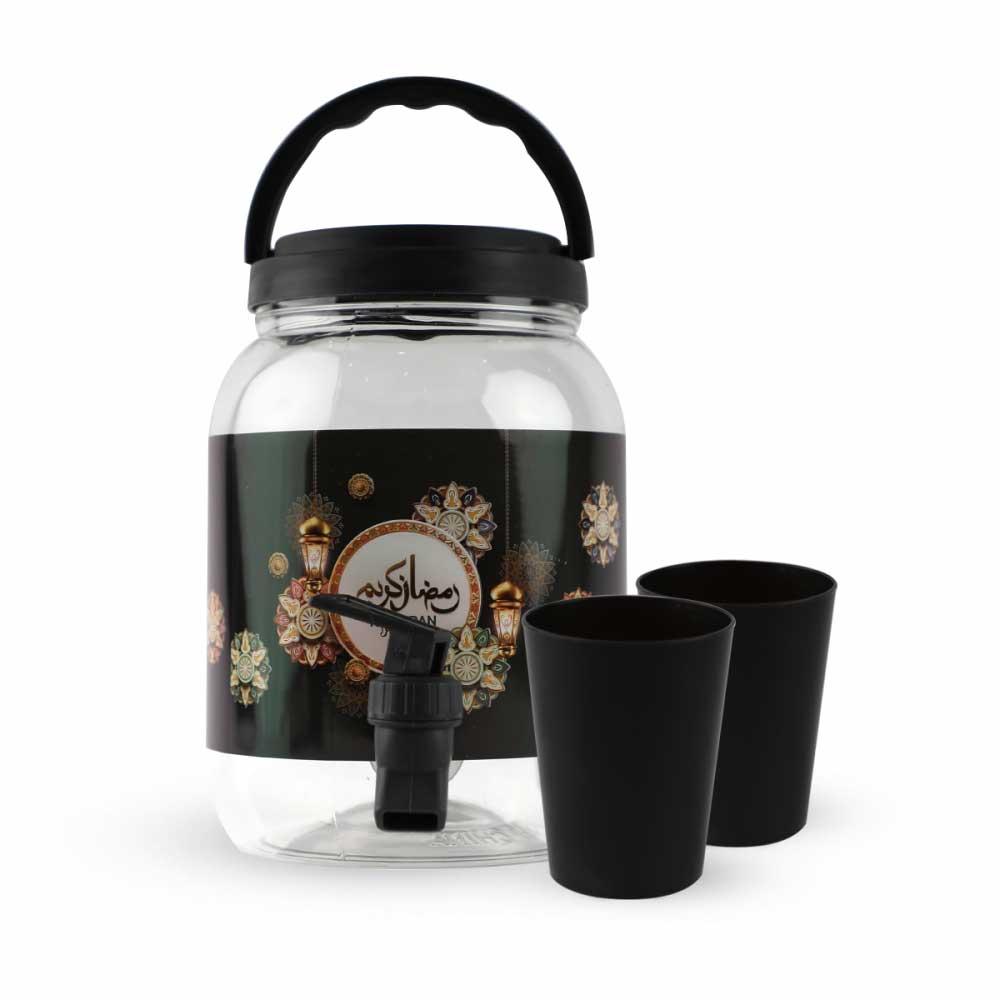 جك بلاستيك شفاف للعصائر بشعار رمضان مع غطاء لون أسود وكاسات وبزبوز 2 لتر متجر 15 وأقل