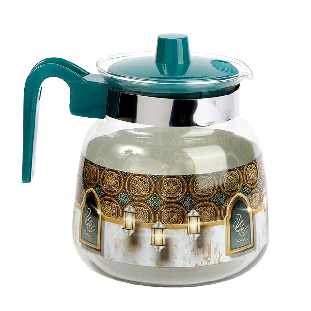 Glass teapot with plastic lid 1.2 L - turquoise متجر 15 وأقل