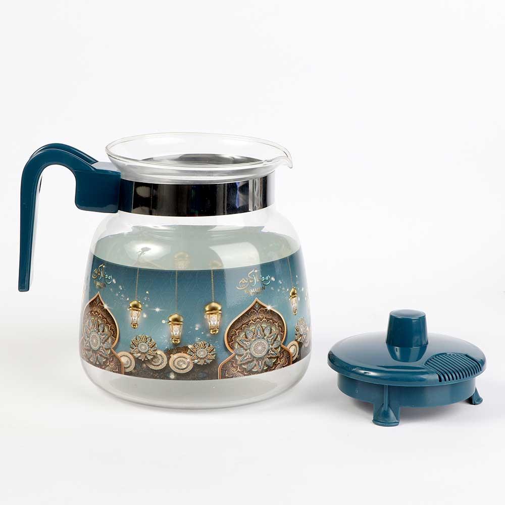 إبريق شاي زجاجي بغطاء بلاستيك 1.2 لتر - ازرق متجر 15 وأقل