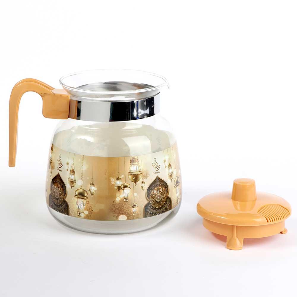 Glass teapot with plastic lid 1.2 L - beige متجر 15 وأقل