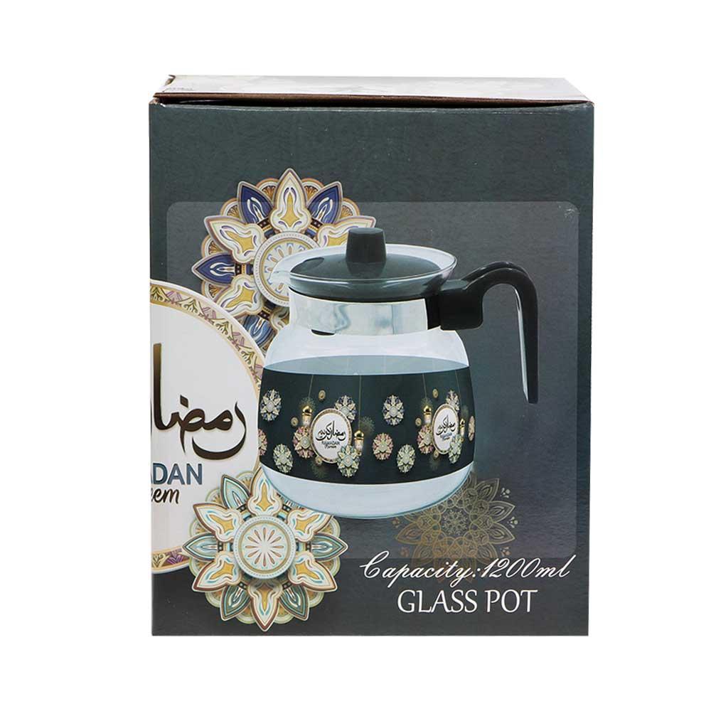 Glass teapot with plastic lid 1.2 L - black متجر 15 وأقل